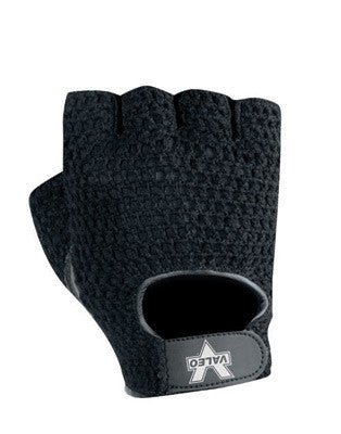 Valeo Medium Black Fingerless Leather And Cotton Mesh Back Material Handling Mechanics Gloves With Hook And Loop Cuff, Padded Leather Palm And Terry Cloth Lining