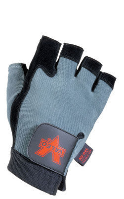 Valeo X-Large Blue And Black Fingerless Split-Leather Anti-Vibration Gloves With Elastic Cuff, AV GEL Padded Palm, And Gel Foam In Thumb, Thumb Joint And All Fingers