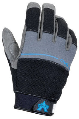 Valeo Small Black Mesh Fingerless Genuine Leather Anti-Vibration Gloves With Hook and Loop Cuff, Cotton Mesh Back, AV GEL Padding In Palm, Thumb And Index Finger, And Soft Terry Lining