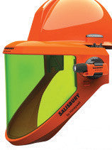 W H Salisbury Orange Hard Cap WIth Ratchet Suspension, Chin Gurad And  AS1200 Series Arc Flash Faceshield