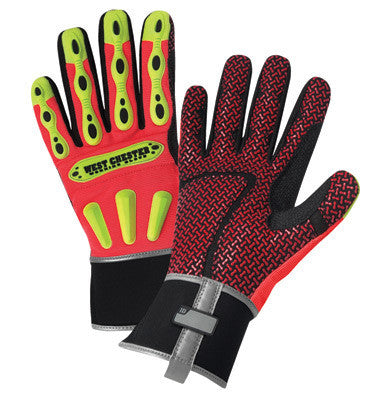 West Chester 2X Orange R2 Safety Rigger Mechanics Gloves With Synthetic Outer Materials And Neoprene Safety Cuff