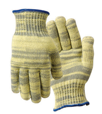Wells Lamont Gray And Yellow Medium Whizard Metalguard Heavy Weight High Perforamnce Fibers, Stainless Steel And Cotton Plaiting Cut Resistant Gloves With Knit Wrist