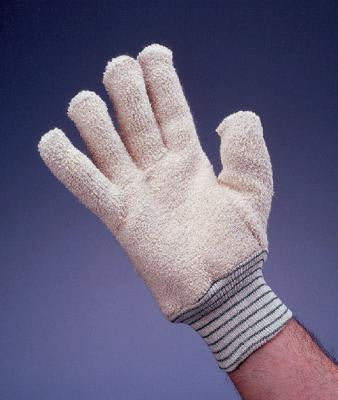 Wells Lamont Large White Heavy Weight Terry Cloth Cut And Sewn Unlined Ambidextrous Heat Resistant Glove With Knitwrist (144 Pair Per Case)