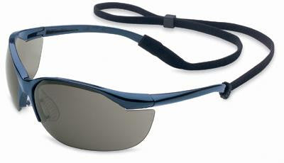 Sperian Vapor Safety Glasses With Metallic Blue Frame, Gray Polycarbonate TSR Anti-Scratch Hard Coat Lens And Break-Away Neck Cord