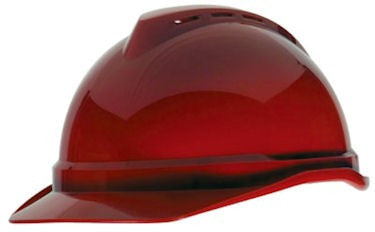 MSA Red V-Gard 500 Class C Type I Polyethylene Vented Hard Cap With Fas-Trac 6-Point Suspension And Glaregard Underbrim