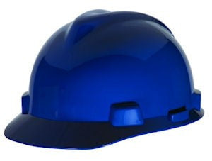 MSA Blue V-Gard Class E Type I Polyethylene  Slotted Hard Cap With 1-Touch Suspension
