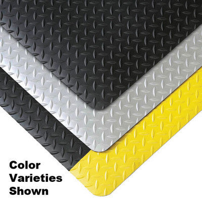 "Superior Manufacturing Notrax 4' X 75' Black 9/16"" Thick Cushion Trax Dry Area Anti-Fatigue Floor Mat With Yellow Border"