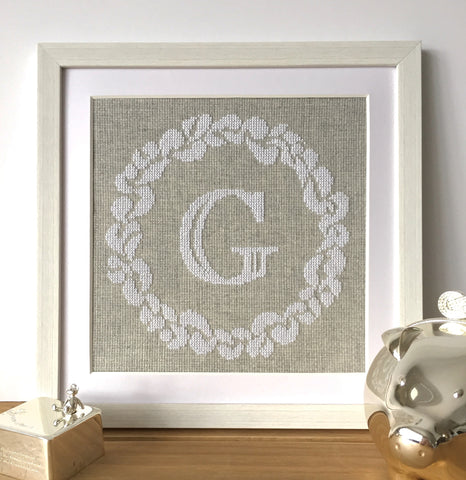 personalised cross stitch kit wreath modern alphabet