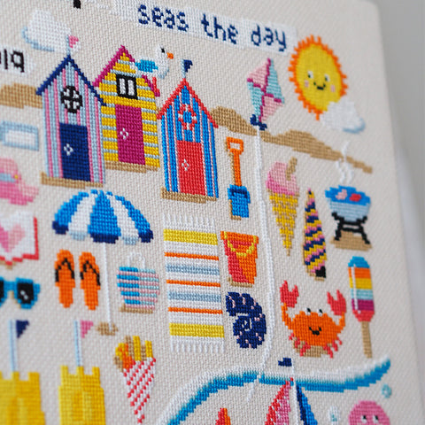 seas the day cross stitch beach