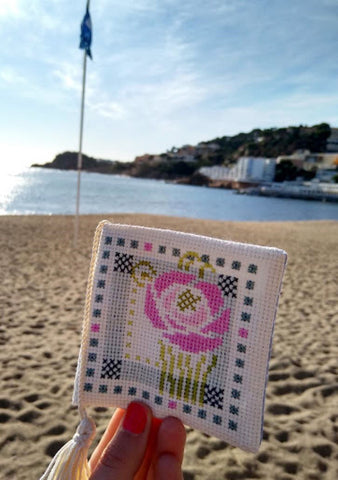 cross stitch on beach