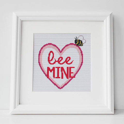 valentines bee cross stitch