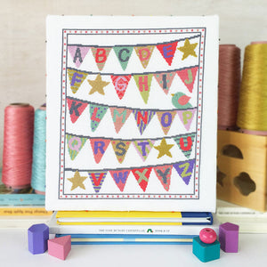 baby cross stitch kit bunting pink