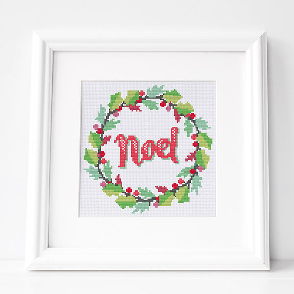 Noel Holly Wreath - Christmas Cross Stitch Pattern
