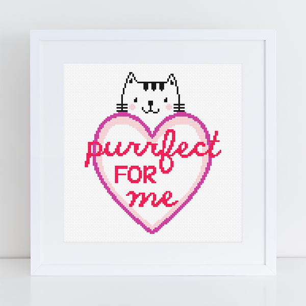 Purrfect For Me Valentines Cross Stitch PDF Pattern - Caterpillar Cross Stitch