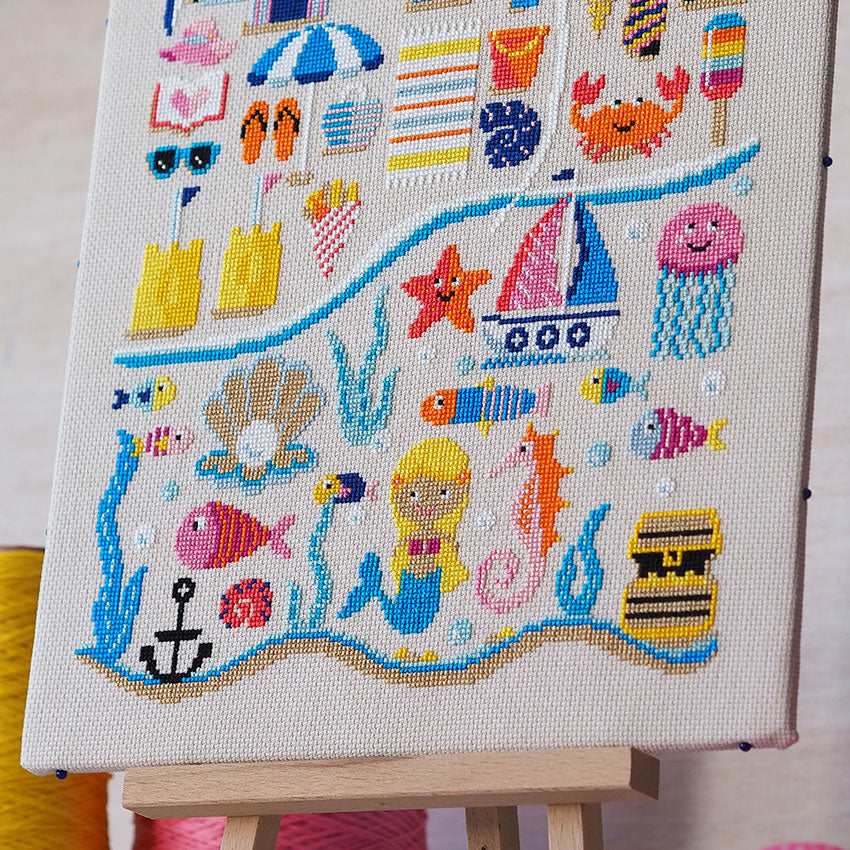 BEACH HUTS SEASIDE cross stitch chart also available as A4 glossy print