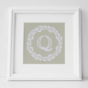 Personalised Cross Stitch Kit and Pattern - Grace Wreath Monogram