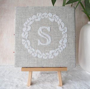 Grace Wreath Monogram - Cross Stitch