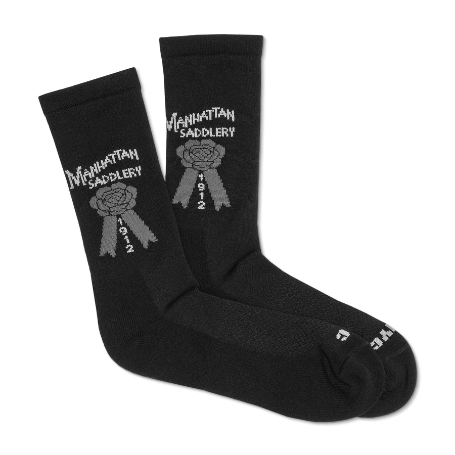 Manhattan Saddlery Logo Knit Socks-Socks-Manhattan Saddlery House Label-Kids-Black-Paddock Boot-Manhattan Saddlery