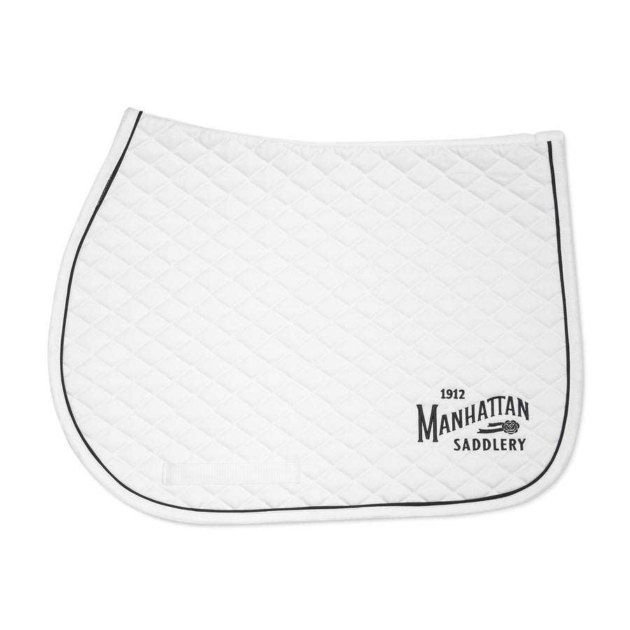 Manhattan Saddlery Emblem Saddle Pad White-Saddle Pad-Manhattan Saddlery House Label-White-Manhattan Saddlery