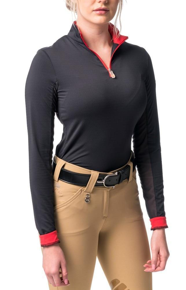 Kastel Charlotte Long Sleeve Sun Shirt Black and Red-Tops-Kastel Denmark-XS-Black / Red-Manhattan Saddlery