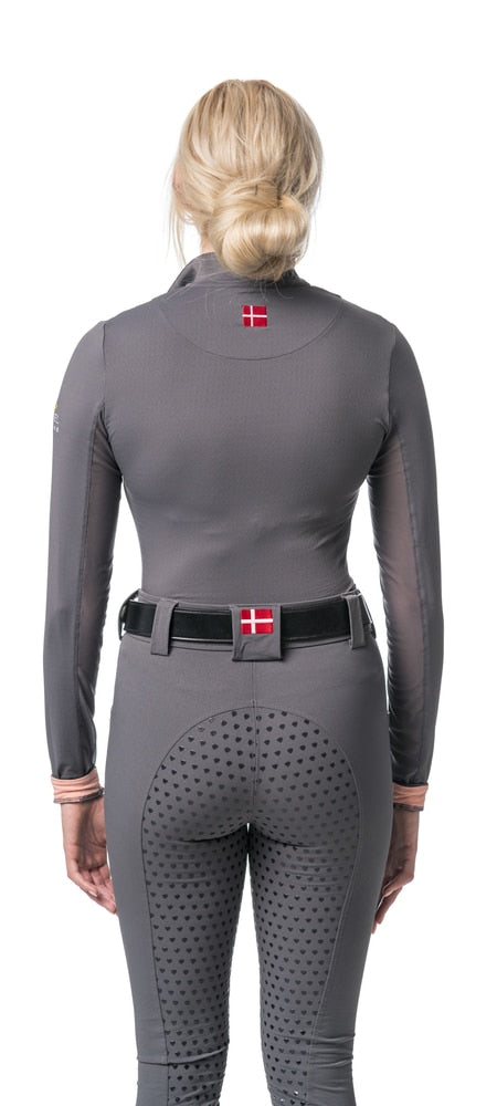 Kastel Charlotte Long Sleeve Sun Shirt Grey and Pink-Tops-Kastel Denmark-XS-Grey / Pink-Manhattan Saddlery