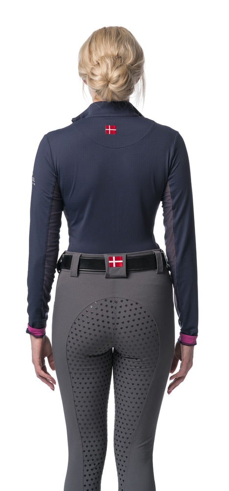 Kastel Charlotte Long Sleeve Sun Shirt Navy and Fuchsia-Tops-Kastel Denmark-XS-Navy/Fuchsia-Manhattan Saddlery