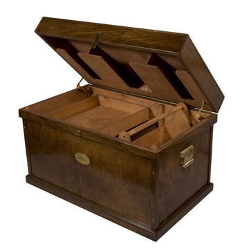 Deluxe Tack Trunk-Tack Boxes-Horsefare-Old World Dark Walnut-Extra Large-Manhattan Saddlery