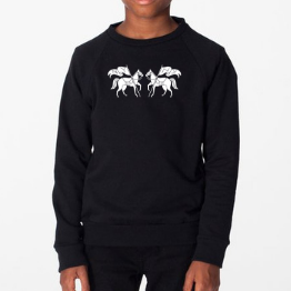 Kid's Twin Horse Logo Sweatshirt-Tops-Manhattan Saddlery House Label-8-Manhattan Saddlery