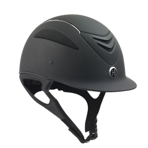 One K Defender Chrome Stripe-Helmets-One K-S-Black-Manhattan Saddlery