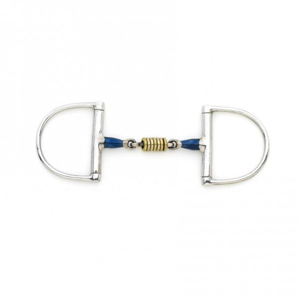 Blue Steel Double Jointed Dee with Loose Brass Roller Disks-Bits-Centaur-5-Manhattan Saddlery