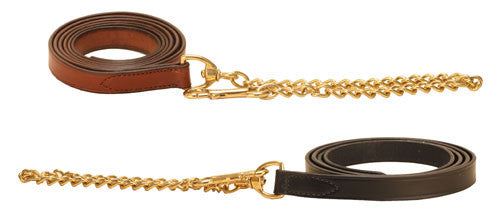 Leather Lead with Chain-Tack-Tory Leather-Black-Manhattan Saddlery