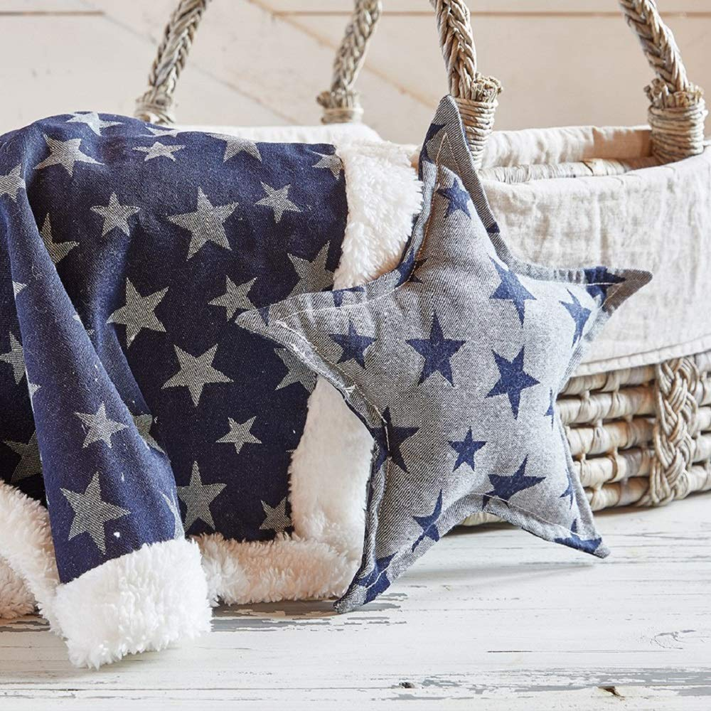 "13"" Reversible Denim Star Pillow 