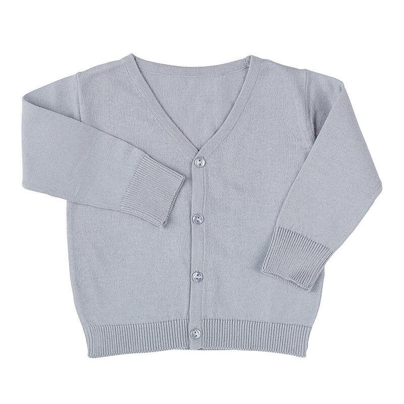 Knit Cardigan - Grey V-Neck, 6-12 MONTHS | Stephan Baby