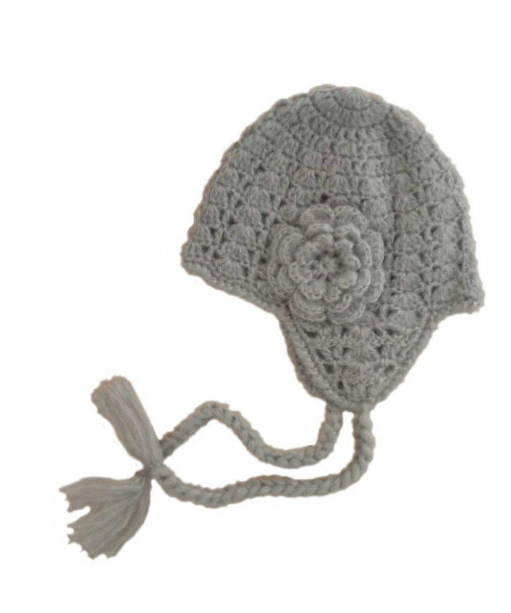 Grey Lacy Flowered Earflap Beanie (6-24m) | Huggalugs