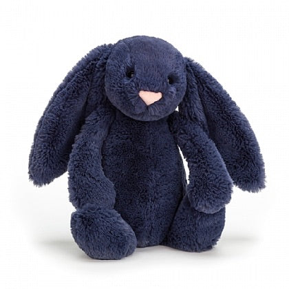 Jellycat bashful navy bunny small medium large huge best children's soft toys animals safe for babies popular plushies softest cuddle high quality comfort item suitable from birth London uk baby shower birthday gift pregnancy sweet dark blue rabbit shop local support small business