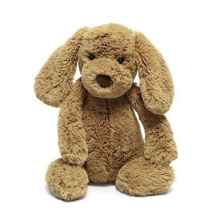 jellycat bashful toffee puppy small medium large huge best children's soft toys animals safe for babies popular plushies softest cuddle high quality comfort item suitable from birth london u.k. Baby shower gift pregnancy Sweet brown dog golden retriever shop local support small business