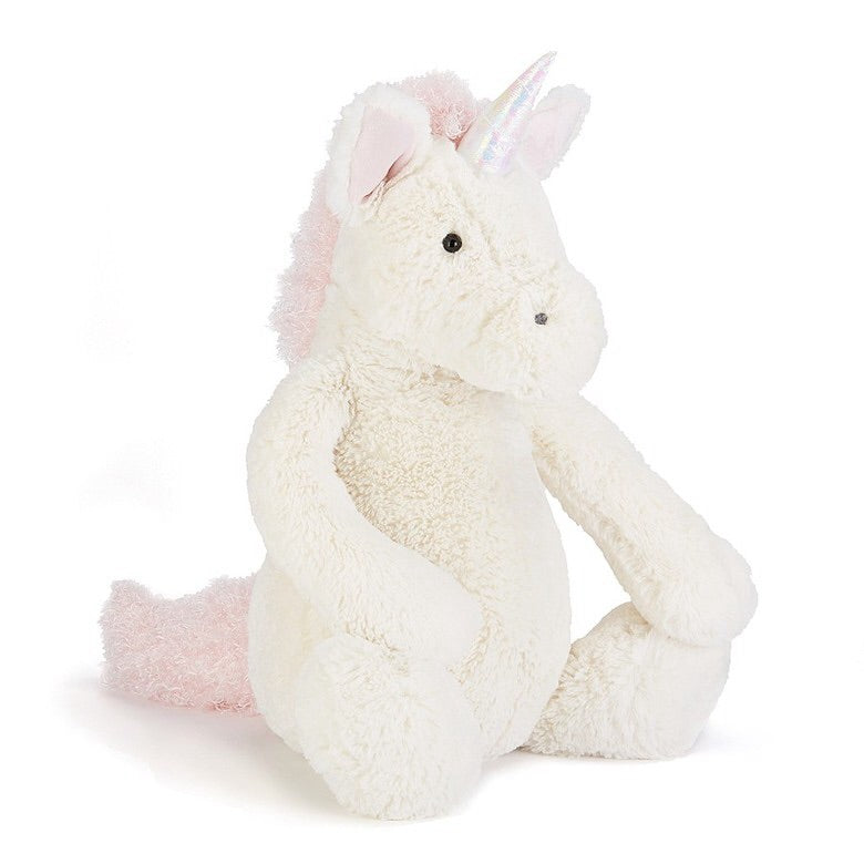 jellycat bashful unicorn small medium large huge best children's soft toys animals safe for babies popular plushies softest cuddle high quality comfort item suitable from birth london u.k. Baby shower gift pregnancy magical pink and white unicorn shop local support small business
