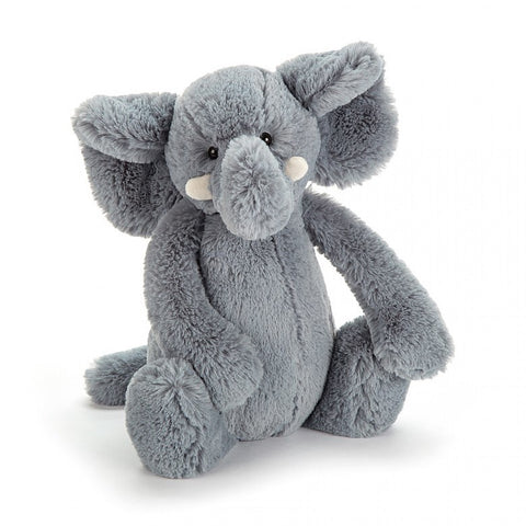jellycat bashful grey elephant small medium large huge best children's soft toys animals safe for babies popular plushies softest cuddle high quality comfort item suitable from birth london u.k. Baby shower gift pregnancy gray elephant shop local support small business
