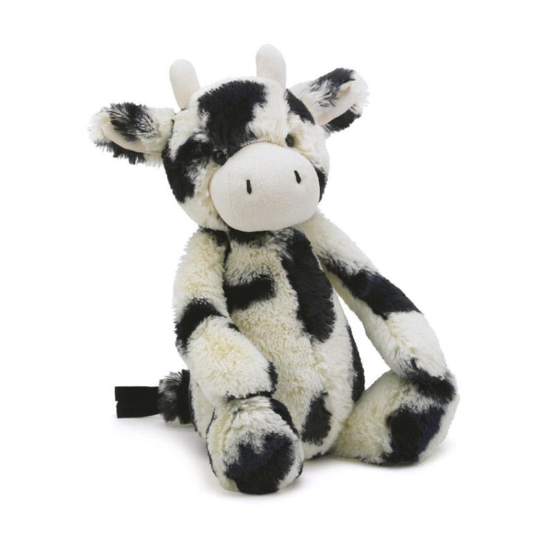 Jellycat bashful calf small medium large huge best children's soft toys animals safe for babies popular plushies softest cuddle high quality comfort item suitable from birth London uk baby shower birthday gift pregnancy sweet black and white cow shop local support small business