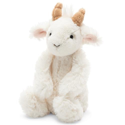 Jellycat bashful goat small medium large huge best children's soft toys animals safe for babies popular plushies softest cuddle high quality comfort item suitable from birth London uk baby shower birthday gift pregnancy sweet zoo white kid shop local support small business