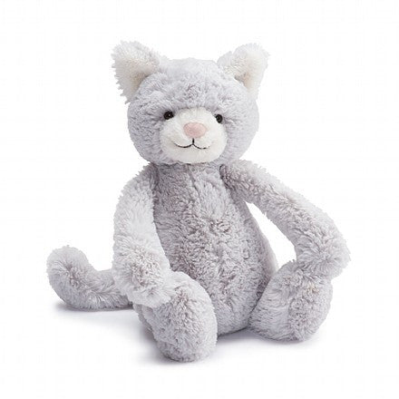 jellycat bashful grey kitten small kitty medium large huge best children's soft toys animals safe for babies popular plushies softest cuddle high quality comfort item suitable from birth london u.k. Baby shower gift pregnancy gray cat shop local support small business