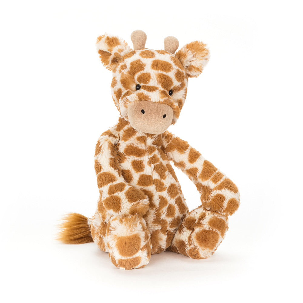 Jellycat bashful giraffe small medium large huge best children's soft toys animals safe for babies popular plushies softest cuddle high quality comfort item suitable from birth London uk baby shower birthday gift pregnancy sweet zoo giraffe pattern shop local support small business