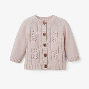 Leaf Pointelle Knit Baby Cardigan (12m) - Various Colors | Elegant Baby