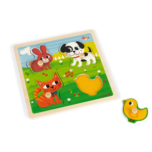 Tactile Puzzle - My first animals (4 pieces) | Janod