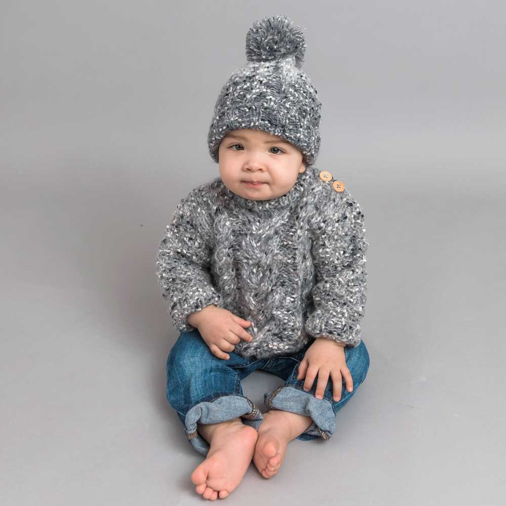 Grey Tweed Button Shoulder Sweater (2-3y) | Huggalugs