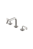 .25 High Profile Three Hole Deck Mounted Bathroom Faucet with Metal Lever Handles in Matte Nickel