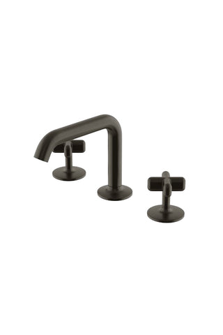 .25 High Profile Three Hole Deck Mounted Lavatory Faucet with Metal Cross Handles in Architectural Bronze Bronze