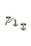 .25 Low Profile Three Hole Deck Mounted Lavatory Faucet with Metal Cross Handles in Matte Nickel