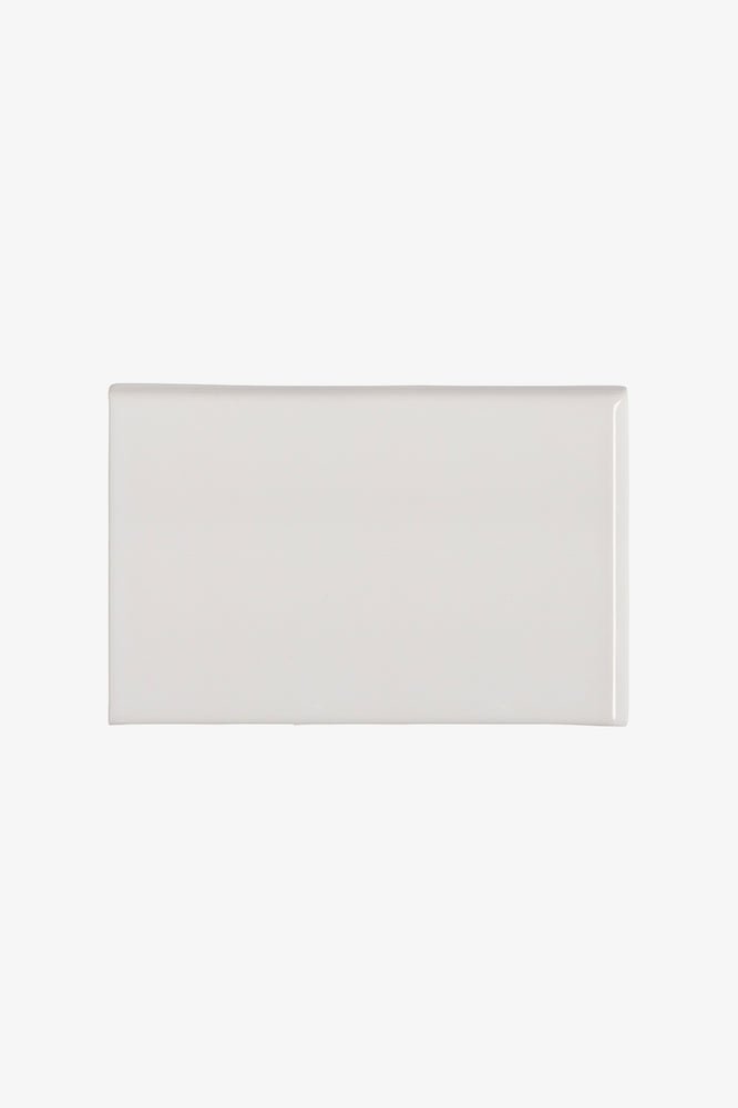Waterworks Cottage Field Tile 6 x 9 Bullnose Corner (Right) in Dover White Glossy Solid