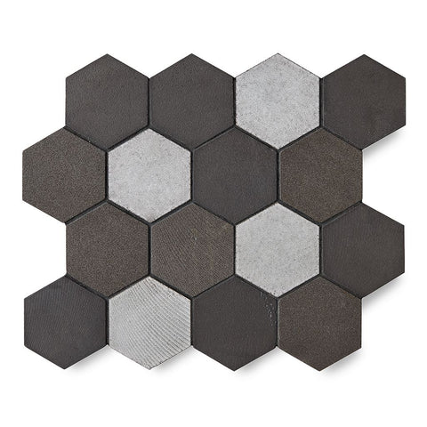 "Magma 3"" Hexagon Mosaic in Java Matte Crackle"